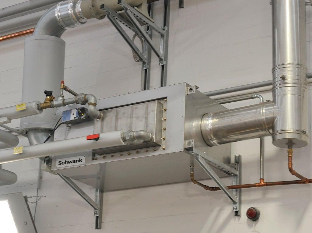 Ein Brennwertsystem der Marke Schwank von Nahem.