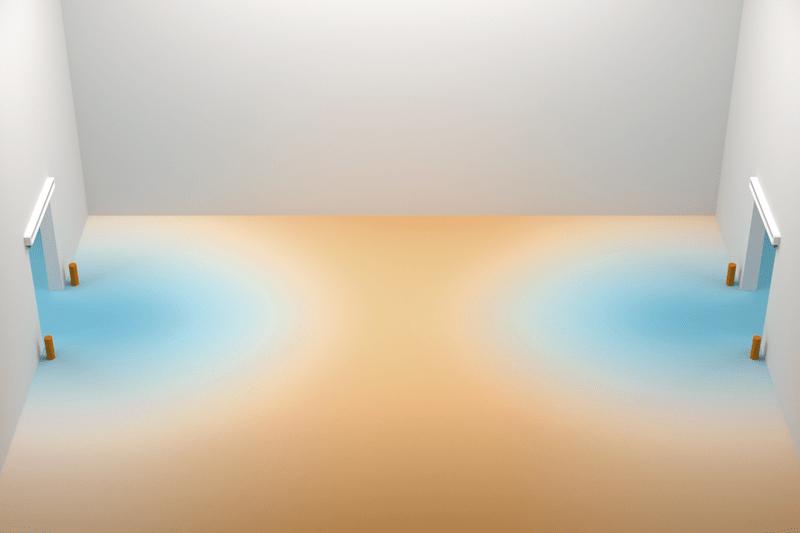 Lufteintritt bei ausgeschaltetem Torluftschleier