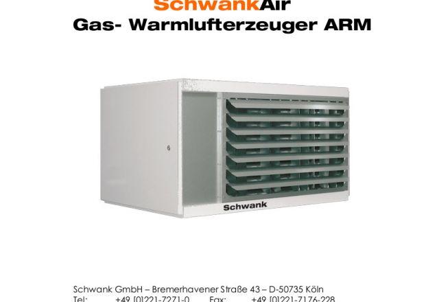 Titelbild der technischen Anleitung eines Warmlufterzeugers von Schwank.
