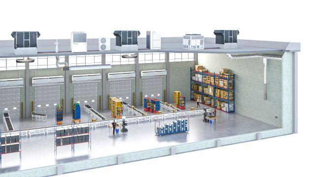 Lüftungstechnik: Zeichnung einer Halle mit drei RLT-Geräten auf dem Dach